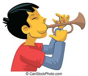 joueur, adolescent, trompette, garçon