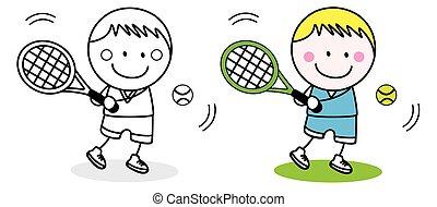 joueur, badminton, gosse