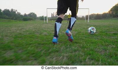 joueur, balle, but, football, coup de pied