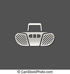 joueur, -, bande, métallique, icône