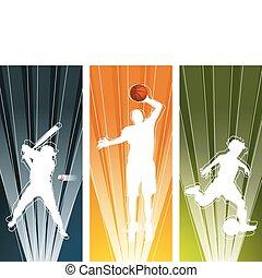 joueur, bannières, sport, silhouette