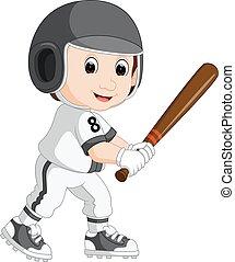 joueur, base-ball, dessin animé, gosse