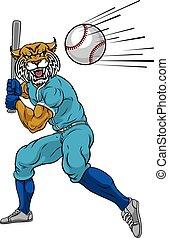 joueur base-ball, mascotte, oscillation, chauve-souris, wildcat