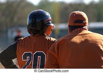 joueur, base, base-ball