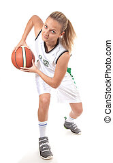 joueur, basket-ball, action, jeune