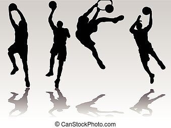 joueur basket-ball, ombre, silhouette