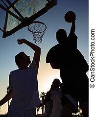 joueur, basket-ball, silhouette, coucher soleil