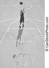 joueur, basket-ball, tir