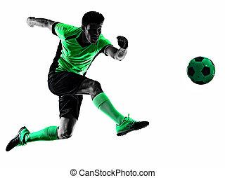 joueur, blanc, homme, fond, isolé, football, silhouette, jeune, ombre