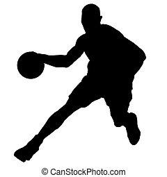 joueur, boule basket-ball