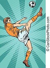 joueur, boule football, coup de pied, football