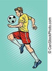 joueur, boule football, retro, football