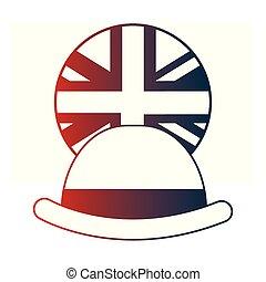 joueur boules, bouton, élégance, drapeau, anglaise, chapeau