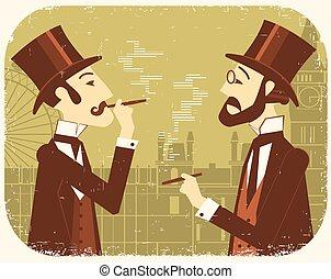 joueur boules, londres, fond, hats., messieurs, vendange