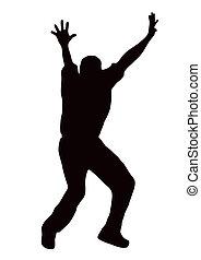 joueur boules, sport, -, attirant, silhouette