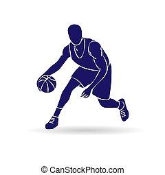 joueur, contour, basket-ball