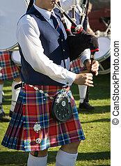 joueur cornemuse, écossais