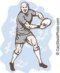 joueur, courant, balle, rugby