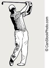 joueur, croquis, golf, illustration
