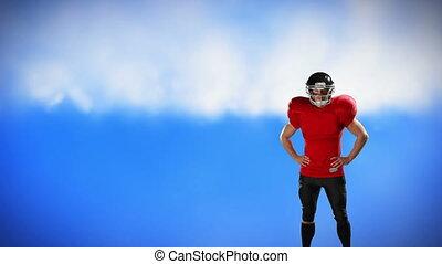 joueur, debout, football, taille, bras