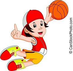 joueur, dessin animé, basket-ball