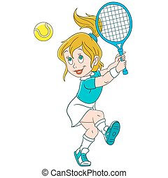 joueur, dessin animé, girl, tennis