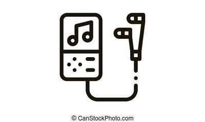 joueur, enregistrement, portable, écouteurs, icône, animation