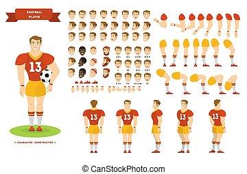 joueur, ensemble, caractère, animation, football