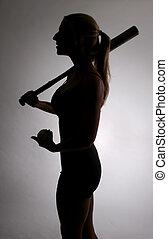 joueur, femme, base-ball