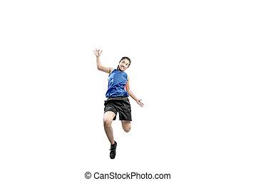joueur, femme, basket-ball, action, asiatique
