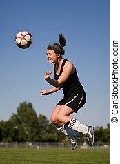 joueur, femme, football