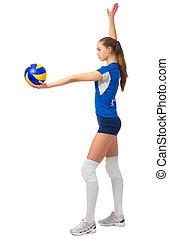 joueur, femme, isolé, voleyball