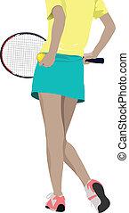 joueur, femme, tennis, co, silhouette.