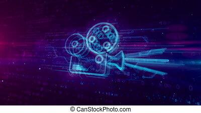 joueur, film, concept, hologramme, projecteur