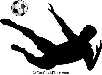 joueur football, à, a, balle