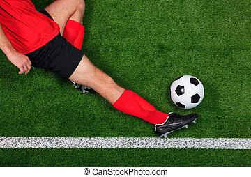 joueur, football, aérien, glissement