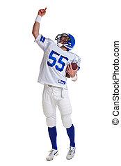 joueur, football américain, coupé
