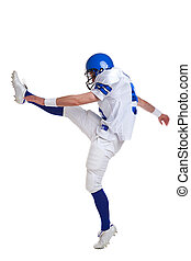 joueur, football américain, donner coup pied