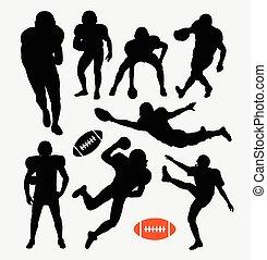 joueur, football, américain, silhouette