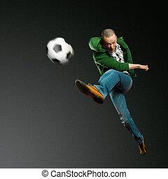 joueur, football, asiatique
