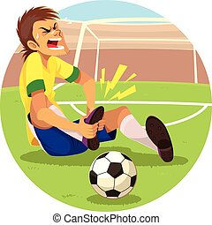 joueur, football, blessé