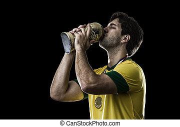 joueur, football, brésilien