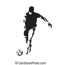 joueur football, courant, et, donner coup pied, balle, isolé, vecteur, silhouette, vue frontale