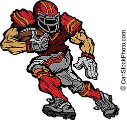 joueur, football, dessin animé, runningback