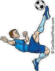 joueur, football, dessin animé, football