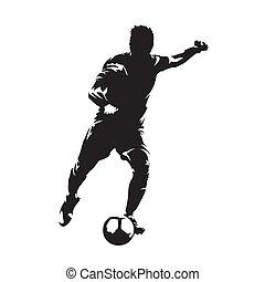joueur football, donner coup pied, balle, devant, vue., footballeur, isolé, vecteur, silhouette