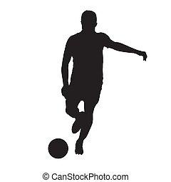 joueur football, donner coup pied, balle, devant, vue., isolé, vecteur, silhouette