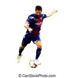 joueur football, donner coup pied, balle, polygonal, vecteur, illustration., devant, vue., footballeur
