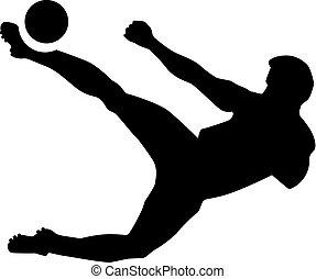 joueur, football, expulsion bicyclette