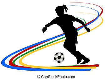 joueur, football, femme